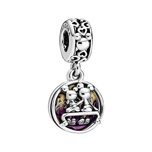 """Pandora Disney Micky Maus und Minnie Maus """"Glücklich und zufrieden"""" Charm-Anhänger, 1,12cm, Mehrfarbig"""