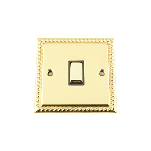 Light Switch Single 1 Gang - Polished Mirror Brass Georgian - Black Insert - Metal Rocker Switch - 10 Amp 1 Gang 2 Way