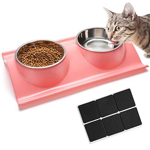Dorakitten Futternäpfe Katzenfutter, Katze Schüssel Doppel Futternapf Katze mit 6 rutschfeste Pads für Katzen und kleine Hunde 38 * 25cm Rosa