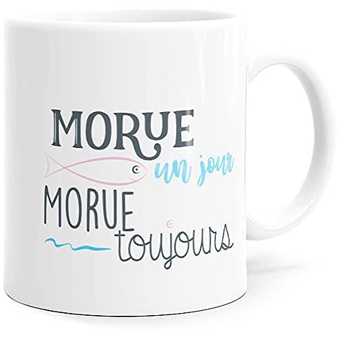 Taza con texto en inglés 'Humour Morue', idea de regalo original para amigos, pareja, enamorados, colegios, hermanas, esposas, Copina, cumpleaños, Navidad, San Valentín, etc.