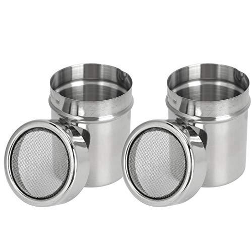 Drague à poudre d'ustensiles de cuisine durables en acier inoxydable, tamis à poudre antirouille argenté, 2 pièces pour poivre de sel