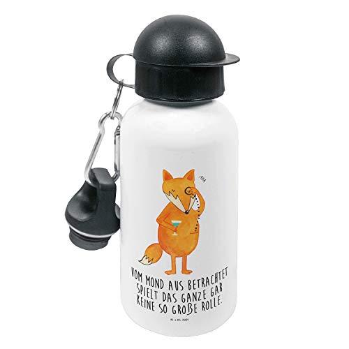 Mr. & Mrs. Panda Kinder, Kindergarten Flasche, Kinder Trinkflasche Fuchs Lord mit Spruch - Farbe Weiß