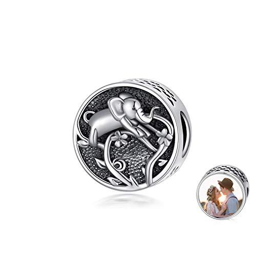 LONAGO Dije de Foto Personalizado Fit Pandora Charm Pulsera Plata de Ley 925 Forma Redonda Imagen...