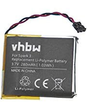 vhbw batería Compatible con Tomtom Spark 1, 3 smartwatch Reloj de Actividad (280mAh, 3,7V, polímero de Litio)