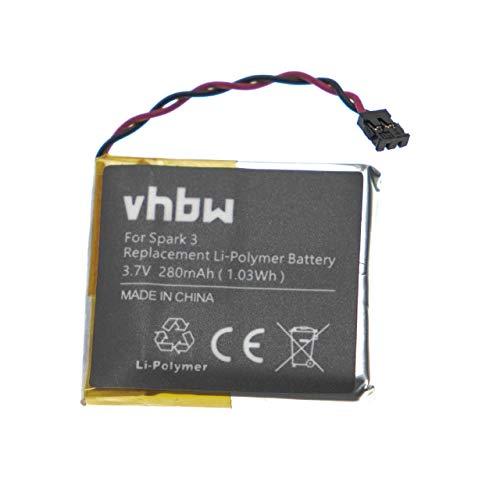 vhbw batteria compatibile con TomTom Runner 1, 2, 3 smartwatch orologio bracciale fitness (280mAh, 3,7V, Li-Poly)