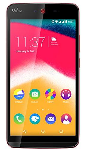 Wiko 9555 Rainbow Jam Smartphone (12,4 cm (5 Zoll) HD IPS-Display, 1,3 GHz Quad-Core Prozessor, 16GB interner Speicher, 1GB RAM, Android 5.1 Lollipop) koralle
