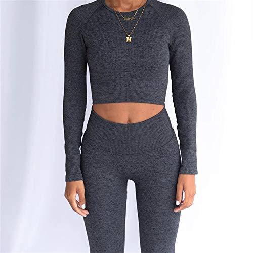 2 Piezas Set de Yoga inconsútil Mujer Fitness Gimnasio Ropa Deporte Gimnasio Establecer Ropa de Entrenamiento para Mujeres Sport Traje Crop Top Leggings Set (Color : Dark Grey Yoga Set, Size : S)