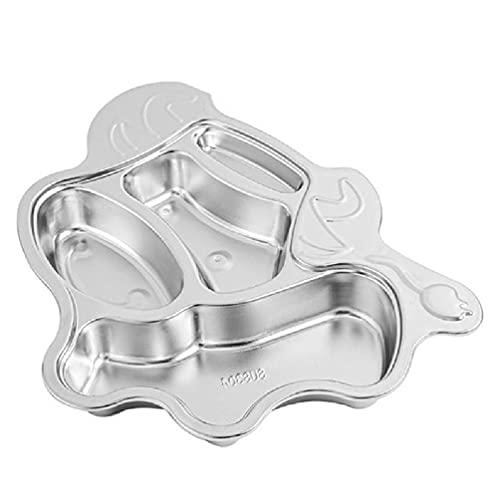 Plato dividido de acero inoxidable Bandeja de servir de alimentos Compartimentos Plato de cena Plato de cocina Vajilla para niños Niños Niños Niños Niños