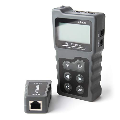Lechnical Tester per cavi di rete, LCD multifunzione PoE Checker Tester di tensione e corrente PoE in linea con tester per cavi