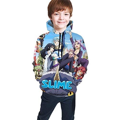 Unisex Children's Sweater That Time I Got Reincarnated as a Slime Anime Hoodie Children's Hoodies Hooded Sweatshirt Unisex Pocket Hooded Sweatshirts Black