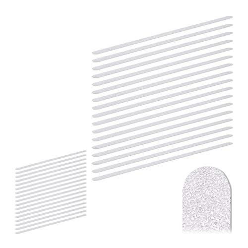 Relaxdays 34 x Anti Rutsch Streifen, 60 cm lang, Kunststoff, für Dusche & Treppe, selbstklebend, Anti-Rutsch-Sticker, transparent