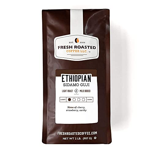 Fresh Roasted Coffee, Ethiopian Sidamo Guji, Light Roast, Kosher, Whole Bean, 32 Ounce