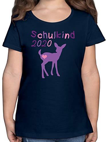 Einschulung und Schulanfang - Schulkind 2020 REH Kitz Lila - 140 (9/11 Jahre) - Dunkelblau - schulkinder Shirt mädchen - F131K - Mädchen Kinder T-Shirt