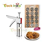 Track India 12 Pieces Combo of Stainless Steel Kitchen Press with 9 Kitchen Tools (Kachori, Samosa, Gujiya, 2 Ladoo Maker, Pizza Cutter, Pastry Cutter, Menduwada Maker and Chutney Plates, Multicolour)