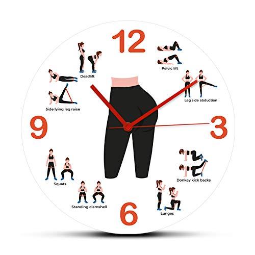 xinxin Reloj de Pared Booty Workout con Bandas de Resistencia Fitness Reloj de Pared Grande Reloj Relojes Mujer Glute Geek Decoración Movimiento silencioso Horologe