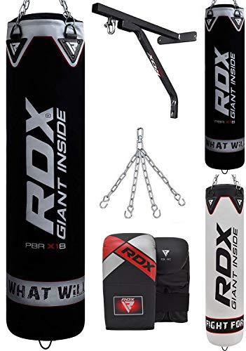 RDX Boxsack Set UNGEFÜLLT Kickboxen MMA Muay Thai Boxen mit wandhalterung Stahlkette Training Handschuhe Kampfsport Schwer Punchingsack Gewicht 4FT 5FT 4PC Punching Bag (MEHRWEG)