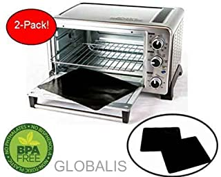 """Toaster Oven Liner TWO-PACK 100% Non-Stick 11"""". Finally, Prevent Spillovers, Gunk & Odors! Great Teflon Liner for Large and Small Toaster Ovens, Dishwasher Safe, Best Toaster Oven Accessories"""