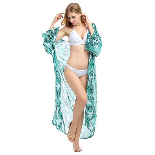 Biofieay Kimono Cardigan Cover Up Beach Bañadores Mujeres Gasa Kaftan Boho Maxi Bikini Largo Encubrimientos Verde-a L