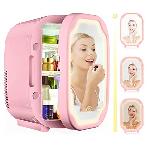 Mini Refrigerador Nevera Portátil para El Skincare 8 L De Refrescos Neveras 220V/12V para Enfriar Y Calentar Refrigerador De Belleza Portátil para Automóvil Viajes Medicina Cuidado De La Piel,Rosado