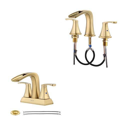 PARLOS Brushed Gold Waterfall Roman Bathtub & Bathroom Sink Faucet Bundle