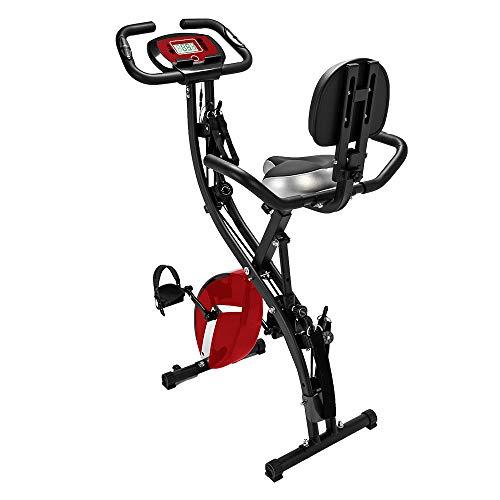 NBRTT Bicicleta estática reclinada, Entrenamiento para Todo el Cuerpo Semi-magnética Plegable con Asiento Ultra Acolchado Vertical Registro y Seguimiento en Interiores, Respaldo, sensores de Pulso
