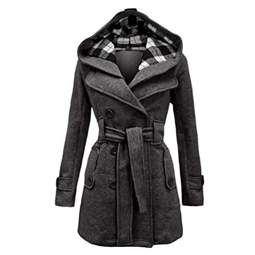 Baijiaye Abrigo Invierno Mujer Parka Largo Grueso Chaqueta Lana Mujeres Elegante Outwear con Capucha Cinturón Gris