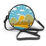 Wrution Nature Scenery Retro mit Wolken Sonnenhimmel Bäume Customized Round Cross-Body Zipper...