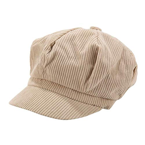 MaoDaAiMaoYi Schirmmütze Einfacher Stil Vintage Baskenmütze Damen Mode Living Bakerboy Mütze Cord Kappe Sommer Herbst Ballonmütze Barett Cap (Color : Beige, Size : Size)