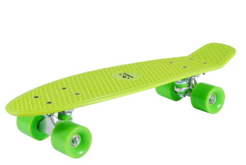 HUDORA - Kinder 12136 Retro Skateboard, zitrone grün