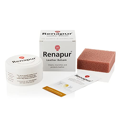 Renapur Leather Balsam, Natural Balm, Conditioner and Restorer (125 ml Box + Applicator Sponge) — Protector for Smooth and Semi-Aniline Leather Sofas, Shoes, Bags, Car Interiors, Saddlery (Unscented)