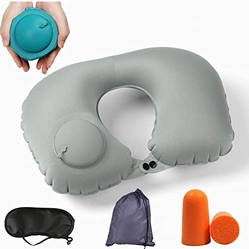 Neck Pillow Travel Pillow Inflatable, Compact Portable Neck Support Pillow for Airplane (Rock ash)