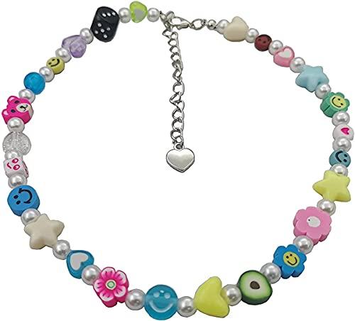 Collar Y2K para mujer, collar de gargantilla de perlas de frutas coloridas, lindo hongo, collar de cuentas Yin Yang, hecho a mano, resina, flor, sonrisa, cara, joyería para niñas adolescentes