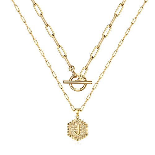 Dainty Layered Initial Necklaces for Women, 14K Gold Plated Paperclip Link Chain Necklace for Women Dainty Hexagon Letter Pendant Initial J Necklace Choker Necklaces Gold Layering Necklaces for Women