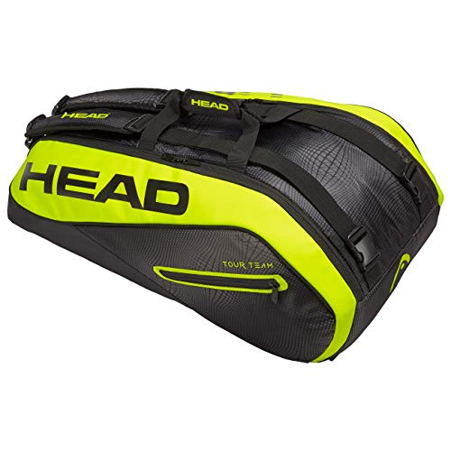 HEAD Tour Team Extreme 9R Supercombi, Borsa per racchetta Unisex adulto, black/neon yellow