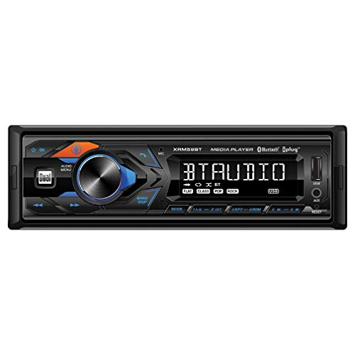 Dual XRM59BT In-dash Single- DIN Mechless Digital Car Stereo Receiver with USB, AUX, and Bluetooth Connectivity