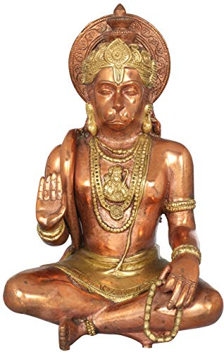 Exotic India Seated Hanuman Blessing His Devotees - Brass Statue - Color Amazing Copper Gold Color