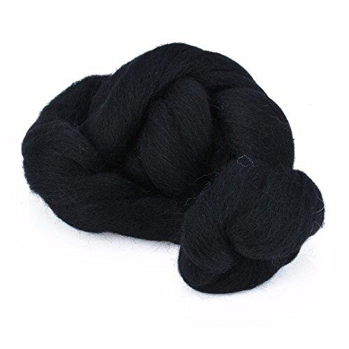 Fibras de lana teñida de fieltro de fibra de lana para manualidades, fieltro de aguja, negro, 50 g