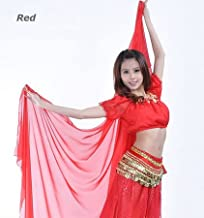 A.K. Trading Co. Belly Dance Chiffon Veil with Silver Sequin Trim - RED