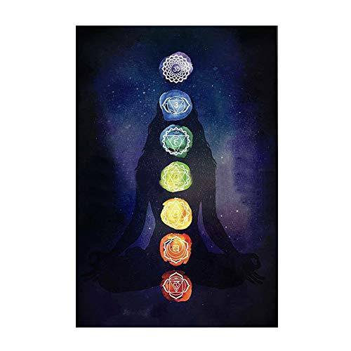 zmigrapddn Manta bohemia con 7 chakras, diseño de mandala de arcoíris, para colgar en la pared, manta de verano, toalla de playa, esterilla de yoga