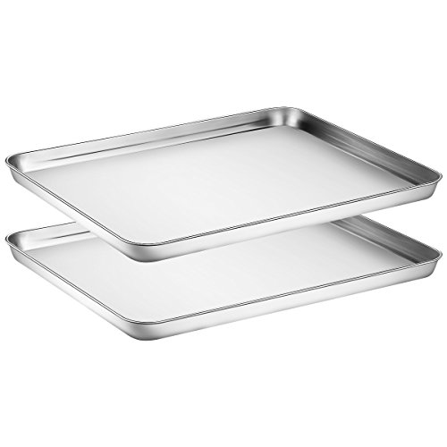 Baking Sheets 2 Pieces with A Rack, HKJ Chef Cookie Sheets and Nonstick Cooling Rack & Stainless Steel Baking Pans & Toaster Oven Tray Pan, Rectangle Size 16 x 12 x 1 inch & Non Toxic (2x16inch)