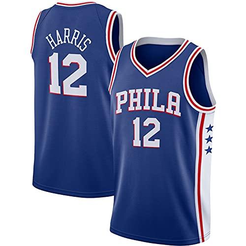 YDJY Harris - Camiseta de baloncesto al aire libre 76er de secado rápido para hombre # 12 azul ropa deportiva