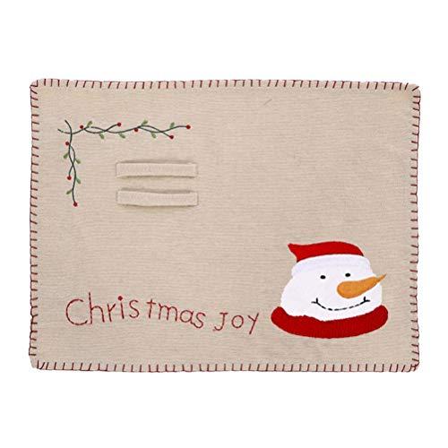 Babitotto Almohadilla de aislamiento de Navidad manteles individuales de Navidad con diseño de muñeco de nieve de Papá Noel bordado de lino almohadilla de aislamiento para decoración del hogar