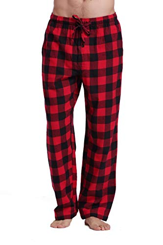 CYZ Men's 100% Cotton Super Soft Flannel Plaid Pajama Pants-BlackRedGingham-L