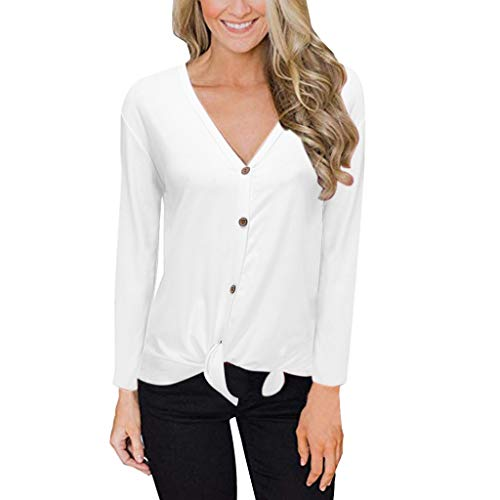 ZuzongYr - Camisetas para mujer, cuello en V, manga larga, parte superior (S-3XL) Blanco XXL