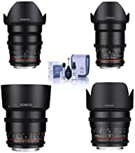Rokinon Cine DS Lens Kit for Canon EF Mount Consists of 24mm T1.5 Lens, 35mm T1.5 Lens, 50mm T1.5 Lens, 85mm T1.5 Lens, Cl...