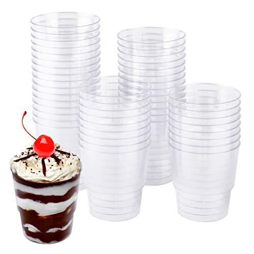 Matana 48 Bicchieri da Dessert Plastica, Coppe da Dessert, 240ml - Trasparente