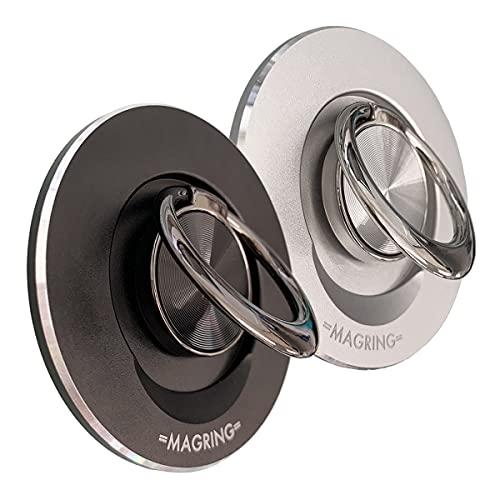 MagSafe対応 スマホリングホルダー 2(マグネット脱着式) マグリング 2 スタンド 落下防止 アクセサリー iPhone12シリーズ対応 (ブラック)