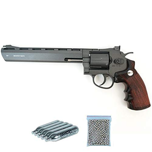 Super Sport 703 8″ Borner Pack revólver de balines Full Metal (perdigones Bolas de Acero BB s). Arma de Aire comprimido CO2 Calibre 4,5mm Potencia: 2.55 Julios.