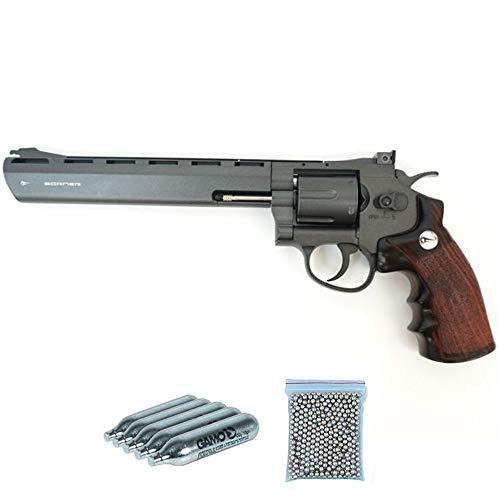 Super Sport 703 8″ Borner Pack revólver de balines Full Metal (perdigones Bolas de Acero BB's). Arma de Aire comprimido CO2 Calibre 4,5mm Potencia: 2.55 Julios.