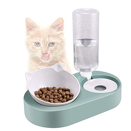 Ciotola per Gatti,15°Ciotola Gatto Inclinato Anti-Vomito con Supporto Rialzato,Scodella Animali Domestici con Automatici Acqua,Ciotola per Gatti e Cani di Piccola Taglia